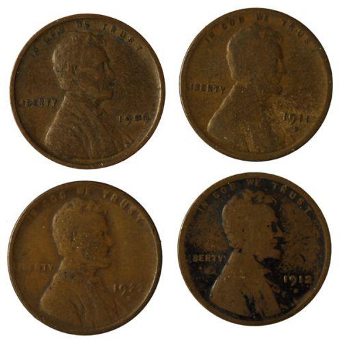 Lincoln Cents - 1909 VDB, 1911-D, 1912-S, 1922-D