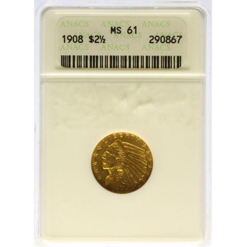 1908 $2 1/2 Gold MS-61 (ANACS)