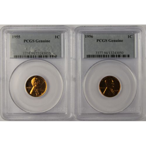 1955 & 1956 Lincoln Cents (PCGS Genuine)
