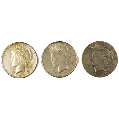 1924-S, 1928-S, 1934-S Peace Dollars