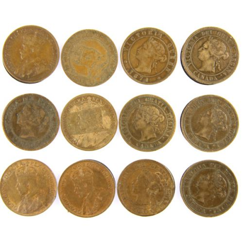 (11) Canadian Large Cents plus 1871 Prince Edward Island Lg. Cent