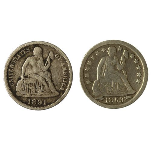 Seated Dimes - 1853 & 1891