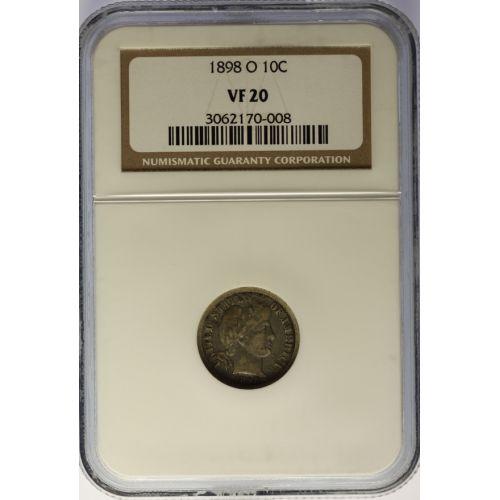 1898-O Barber Dime VF-20 (NGC)