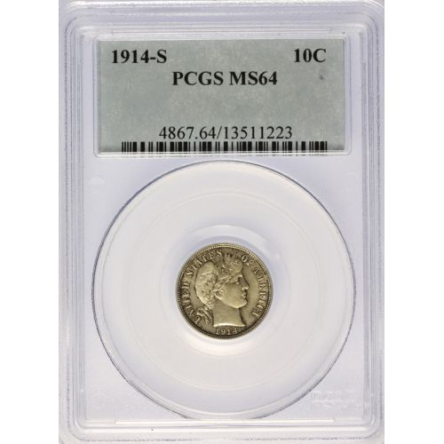 1914-S Barber Dime MS-64 (PCGS)