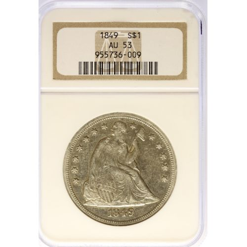 1849 Seated Dollar AU-53 (NGC)