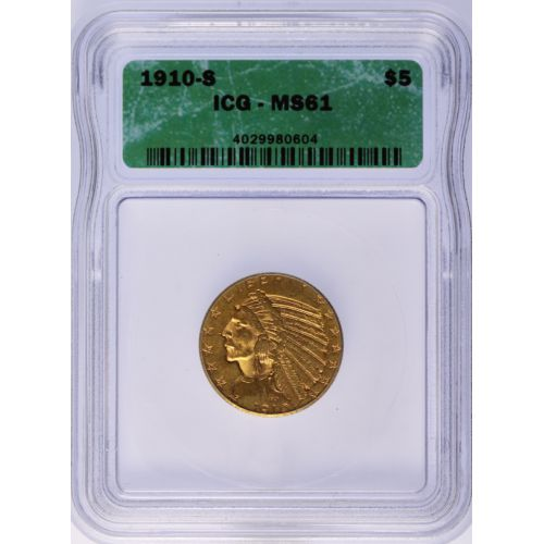 1910-S $5 Indian Gold MS-61 (ICQ)