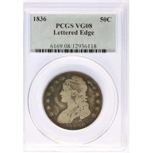 1836 Bust Half Dollar VG-8 Lettered Edges (PCGS)