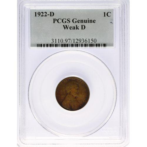 """1922-D """"Weak D"""" Lincoln Cent (PCGS)"""