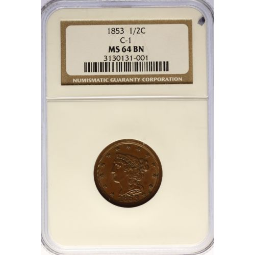 1853 Half Cent C-1 MS-64 BN (NGC)
