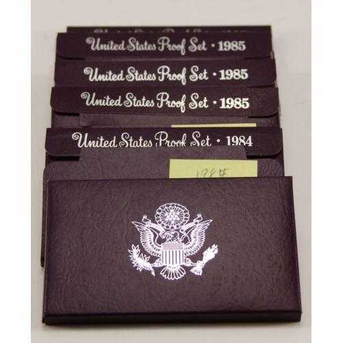 1984 & 1985 US Proof Sets (6 Sets)