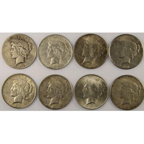 1923 Peace Silver Dollars (8pcs.)