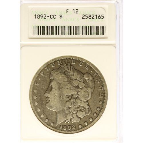 1892-CC Morgan Silver Dollar F-12 (ANACS)