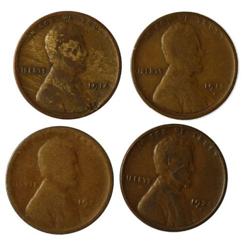 "Lincoln Cents: 1922-D ""Weak D"", 1914-S, 1915-S & 1924-D"