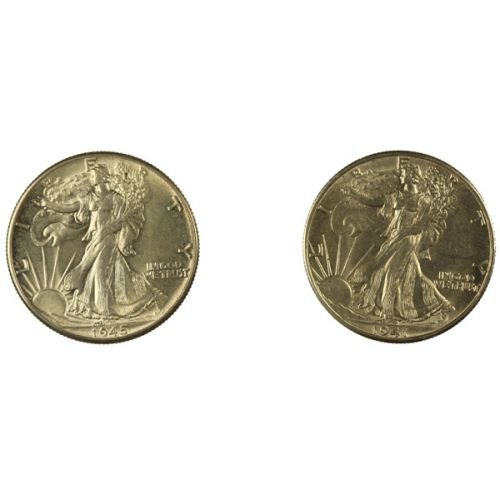1941-D & 1945-P Walking Liberty Half Dollars