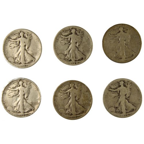 S-Mint Walking Liberty Halves - 1919-S, 1923-S, 1927-S, 1928-S, 1929-S & 1933-S