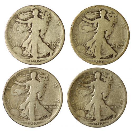 Walking Liberty Halves - 1917-D & 1917-S Obverse & Reverse