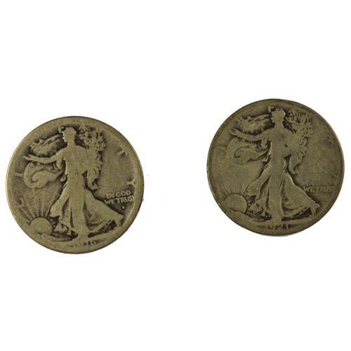 1916-D and 1921-S Walking Liberty Half Dollars