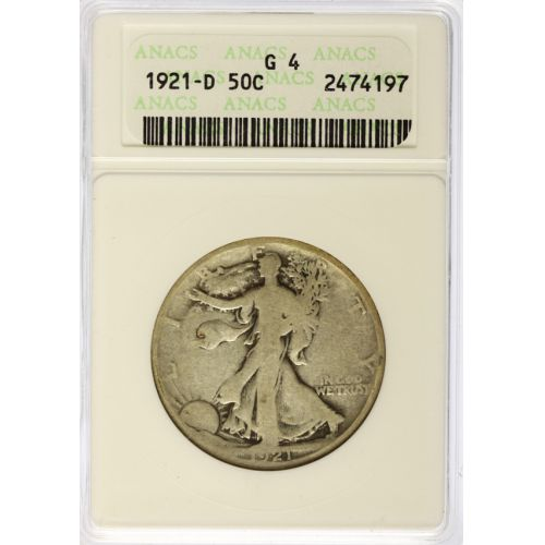 1916-PDS & 1921-PDS Walking Liberty Half Dollars G4 (ANACS & PCGS)