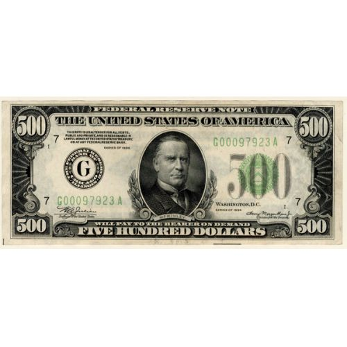 1934 $500 Federal Reserve Note (Chicago)