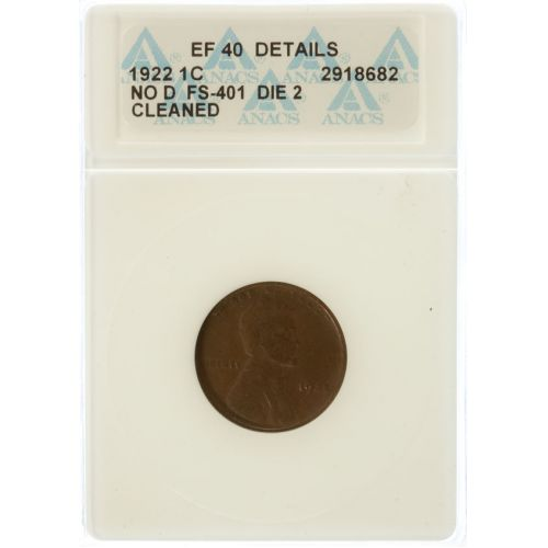 "1922 ""No D"" Lincoln Cent XF-40 Details (ANACS)"