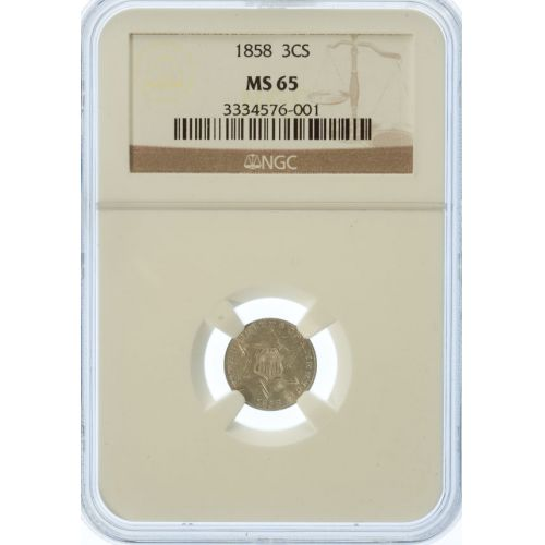 1858 3 Cent Silver MS-65 (NGC)