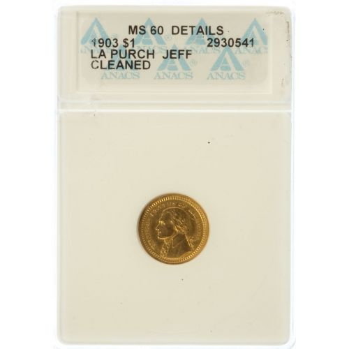 1903 $1 Louisiana Purchase Gold MS-60 Details (ANACS)