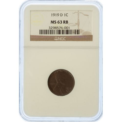 1919-D Lincoln Cent MS-63 RB (NGC)