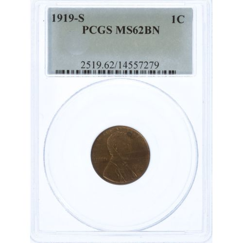 1919-S Lincoln Cent MS-62 BN (PCGS)