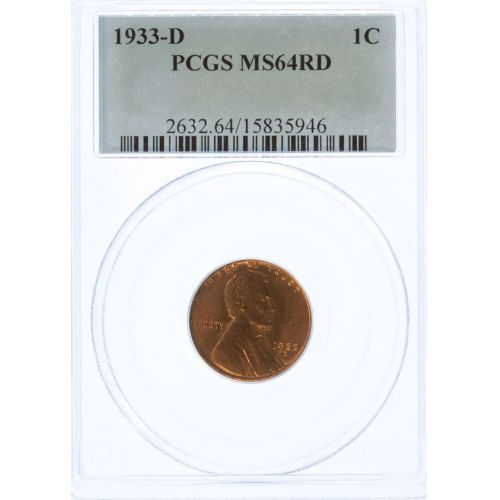 1933-D Lincoln Cent MS-64 RD (PCGS)
