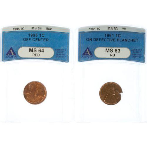 1961 & 1995 Lincoln Cent Errors (ANACS)