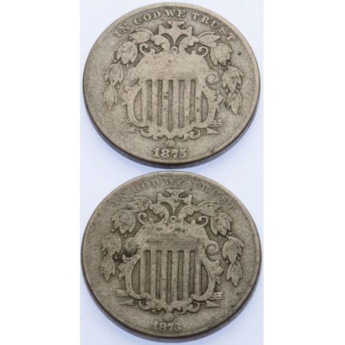 1873 & 1875 Shield Nickels