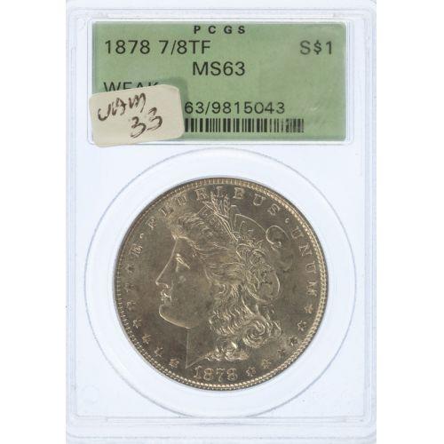1878 Morgan Dollar 7/8 TF MS-63 (PCGS)