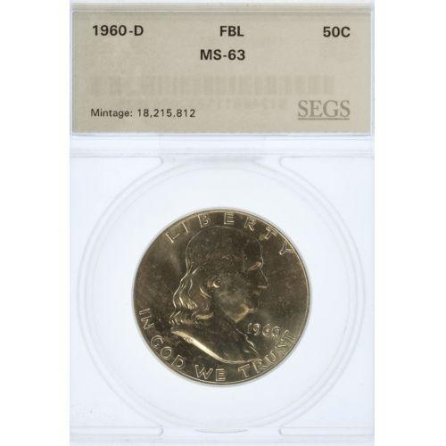 1960-D Franklin Half Dollar MS-63 FBL (SEGS)