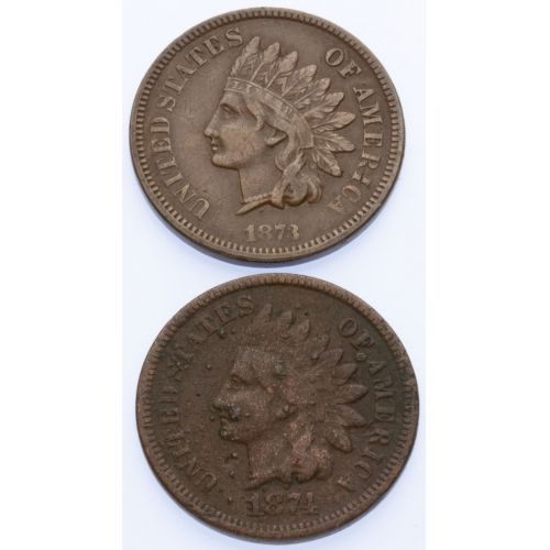 1873 & 1874 Indian Head Cents
