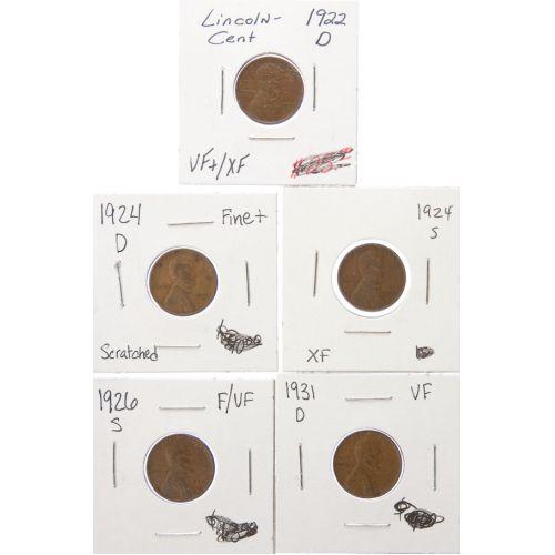 1922-D, 1924-D, 1924-S, 1926-S, 1931-D Lincoln Cents