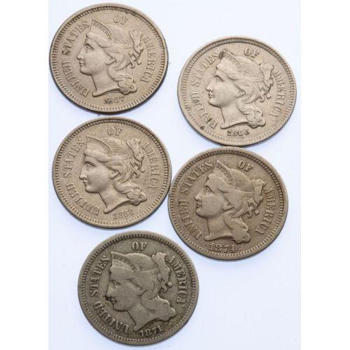 3-Cent Pieces (5pcs.)