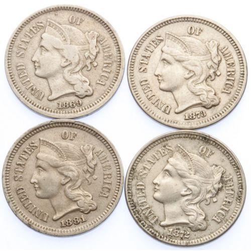 3-Cent Pieces (4pcs.)