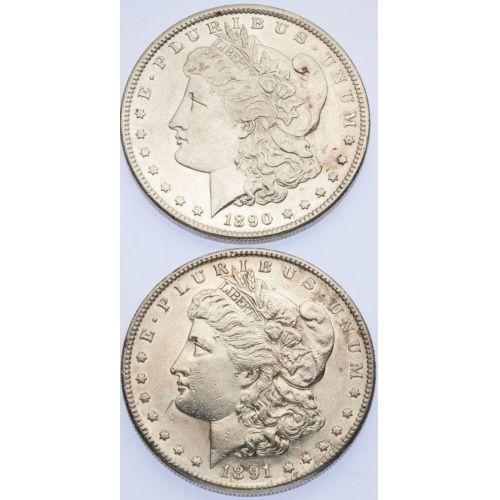 1890-S & 1891-S Morgan Dollars