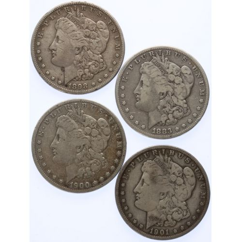 1883-S, 1898-S, 1900-S, 1901-S Morgan Dollars