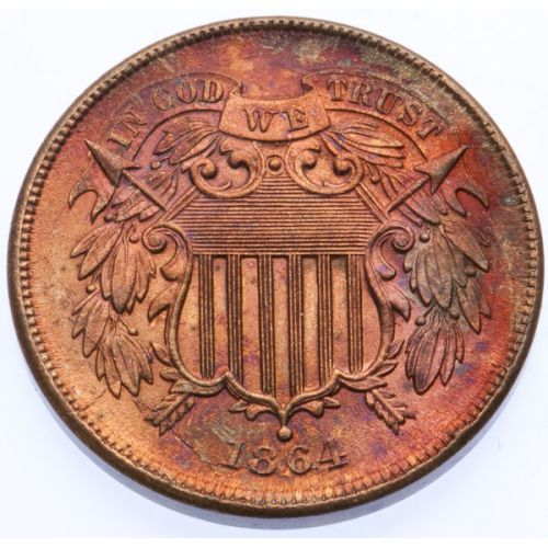 1864 2-Cent Large Motto Toned