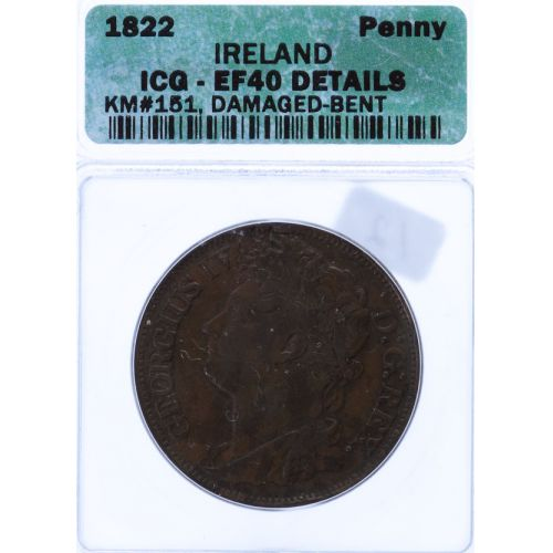 Ireland: 1822 Penny XF-40 Details (ICG)