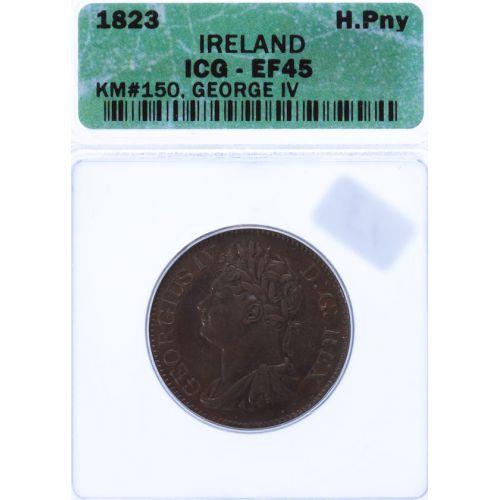 Ireland: 1823 Half Penny XF-45 (ICG)