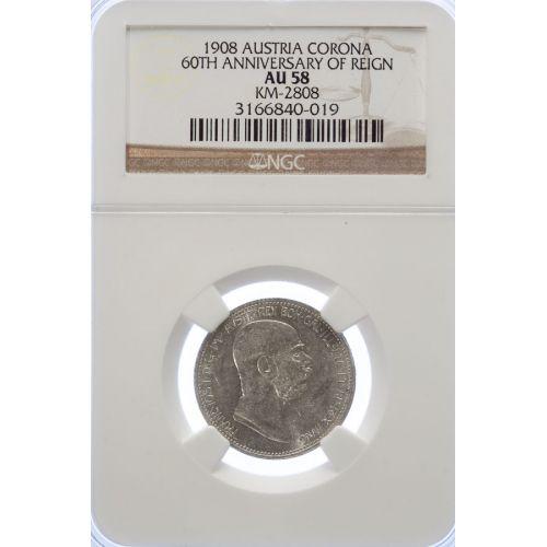 Austria: 1908 Corona 60th Annv. Of Reign AU-58 (NGC)