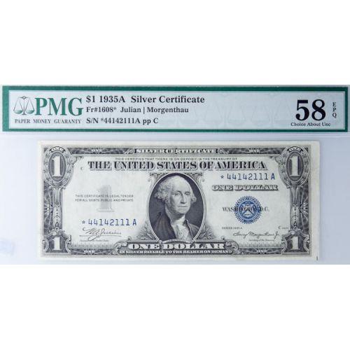 1935-A $1 Star Silver Certificate FR-1608 58 EPQ (PMG)