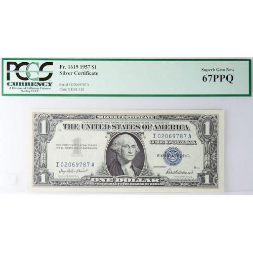 1957 $1 Silver Certificate FR-1619 67 PPQ (PCGS)