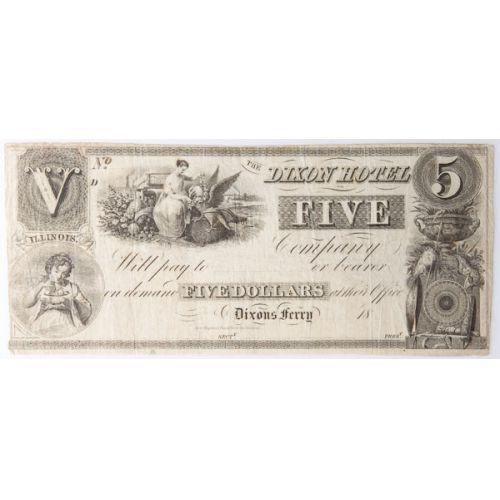 1838 $5 Obsolete (Dixon, Illinois)