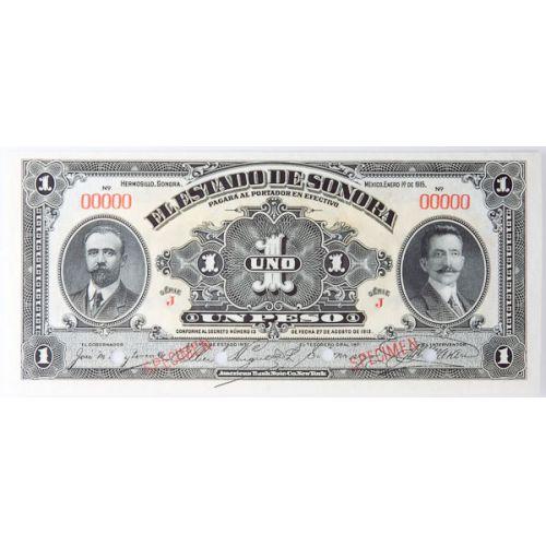 Mexico: Bank of Sonora 1 Pesos (Specimen)