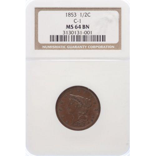 1853 Half Cent C-1 MS-64 (NGC)