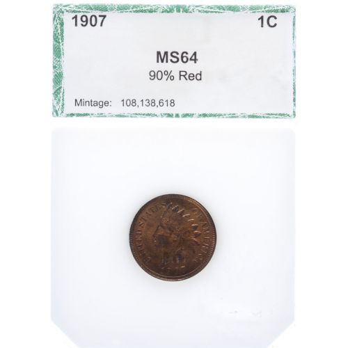 1907 Indian Head Cent MS-64 Red (PCI)
