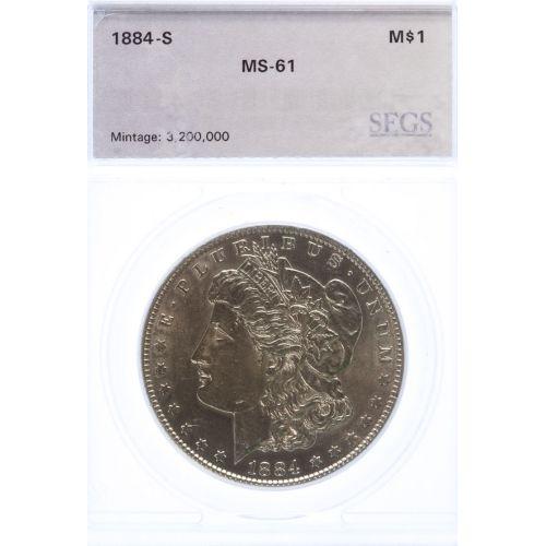 1884-S Morgan Dollar MS-61 (SEGS)